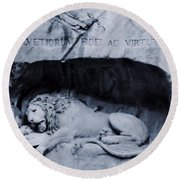 The Lion Of Lucerne Round Beach Towel