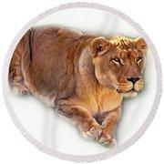 The Lioness - Vignette Round Beach Towel