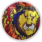 The Lions Mane. Round Beach Towel