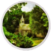 The Little Church On The Corner Round Beach Towel