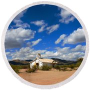 The Little Country Church Round Beach Towel
