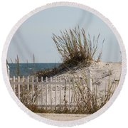 The Little Dune And The White Picket Fence Round Beach Towel