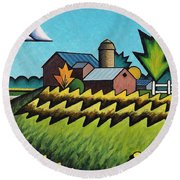 The Little Farm On The Grassy Hill Round Beach Towel