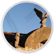The Little Lion And The Soaring Eagle Who Watches Over Him Round Beach Towel