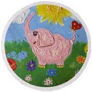 Little Pink Elephant Round Beach Towel