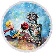 The Little Prince And E.t. Round Beach Towel