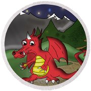 The Little Red Dragon Round Beach Towel