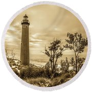 The Little Sable Lighthouse Round Beach Towel
