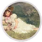 The Little Shepherdess Round Beach Towel