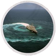 The Littoral Combat Ship Uss Independence Round Beach Towel
