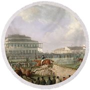The Liverpool And National Steeplechase At Aintree Round Beach Towel