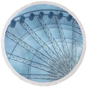 The Liverpool Wheel In Blues 2 Round Beach Towel