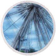 The Liverpool Wheel In Blues 3 Round Beach Towel