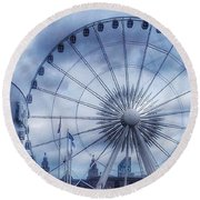 The Liverpool Wheel In Blues Round Beach Towel