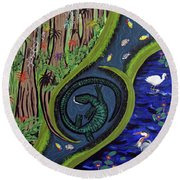 The Living Marshes Round Beach Towel