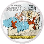 The Lobster Bed. Round Beach Towel