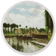 The Lock At Pontoise Round Beach Towel