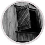 The Loft Door In Black And White Round Beach Towel