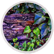 The Log In The Woods  Round Beach Towel