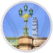 The London Eye And Westminster Bridge Round Beach Towel