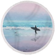 The Lone Surfer 2 Round Beach Towel