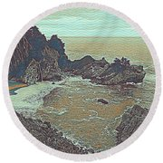 The Lone Waterfal By The Hidden Cove Round Beach Towel