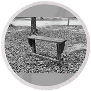 The Lonely Bench Round Beach Towel