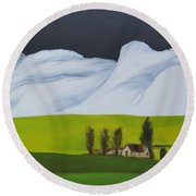 The Lonely Farm Round Beach Towel