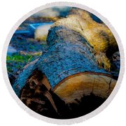 The Lonely Log Round Beach Towel