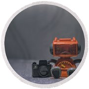 The Lonely Robot Photographer Round Beach Towel