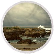 The Lonely Sea And Sky Round Beach Towel