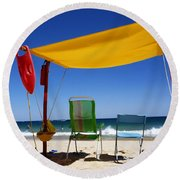 The Lonely Sea And The Sky Round Beach Towel