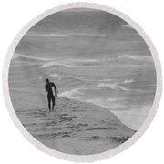 The Lonely Surfer Dude Round Beach Towel