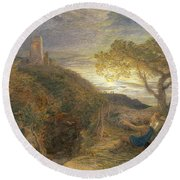 The Lonely Tower Round Beach Towel by Samuel Palmer