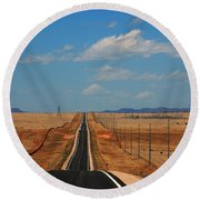 The Long Road To Santa Fe Round Beach Towel