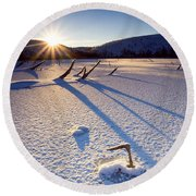 The Long Shadows Of Winter Round Beach Towel