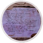 The Lord's Prayer Collage Round Beach Towel