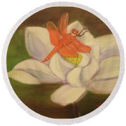 The Lotus And The Dragonfly Round Beach Towel