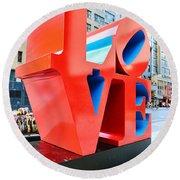 The Love Sculpture Round Beach Towel
