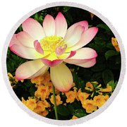 The Lovely Lotus Round Beach Towel