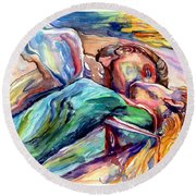 The Lovers Watercolor Round Beach Towel