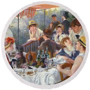 The Luncheon Of The Boating Party Round Beach Towel by Pierre Auguste Renoir