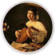 The Lute Player Round Beach Towel