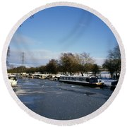 The Macclesfield Canal At Poynton In Winter And Frozen  Cheshire England Round Beach Towel