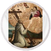 The Madonna And Child Appearing To Saint Bruno With The Instruments Of The Passion Round Beach Towel