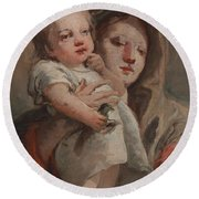 The Madonna And Child With A Goldfinch Round Beach Towel
