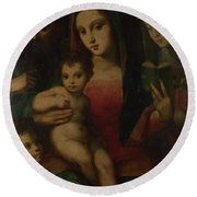 The Madonna And Child With Saints Round Beach Towel
