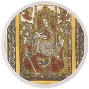 The Madonna Enthroned With Eighteen Holy Women Round Beach Towel