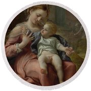The Madonna Of The Basket Round Beach Towel