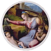 The Madonna Of The Veil Round Beach Towel